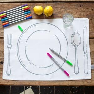 Sada 4 prostírání k vymalování Doodle, talíř