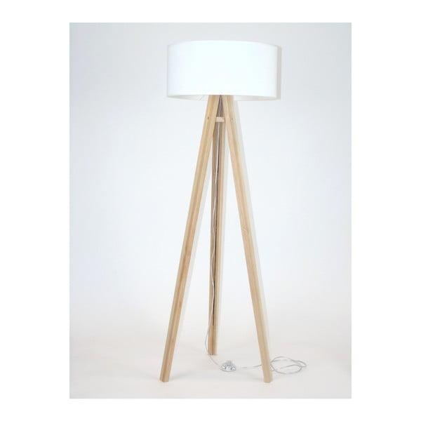 Lampadar cu abajur alb și cablu transparent Ragaba Wanda