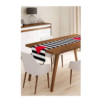 Napron din microfibră pentru masă Minimalist Cushion Covers Stripes with Red Heart, 45x145cm de la Minimalist Cushion Covers