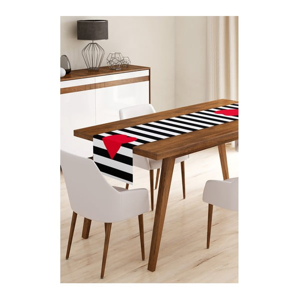 Napron din microfibră pentru masă Minimalist Cushion Covers Stripes with Red Heart, 45 x 145 cm