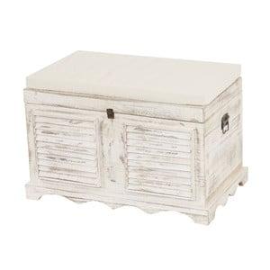 Bílá dřevěná lavice s úložným prostorem Mendler Shabby