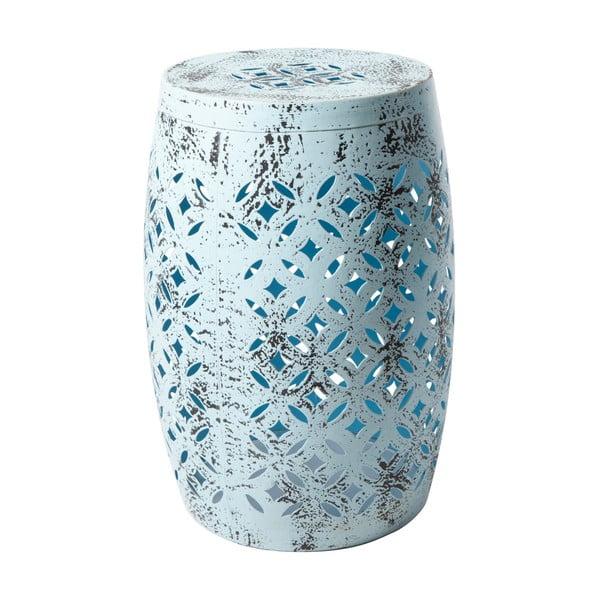 Niebieski stołek metalowy ręcznie malowany RGE Nour, ⌀ 30 cm