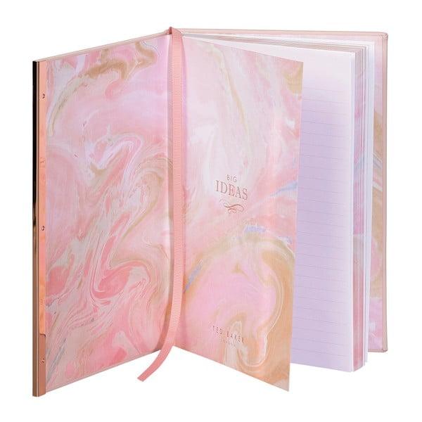 Růžový zápisník s detailem v růžovozlaté barvě Ted Baker Soft Touch, 192 stránek