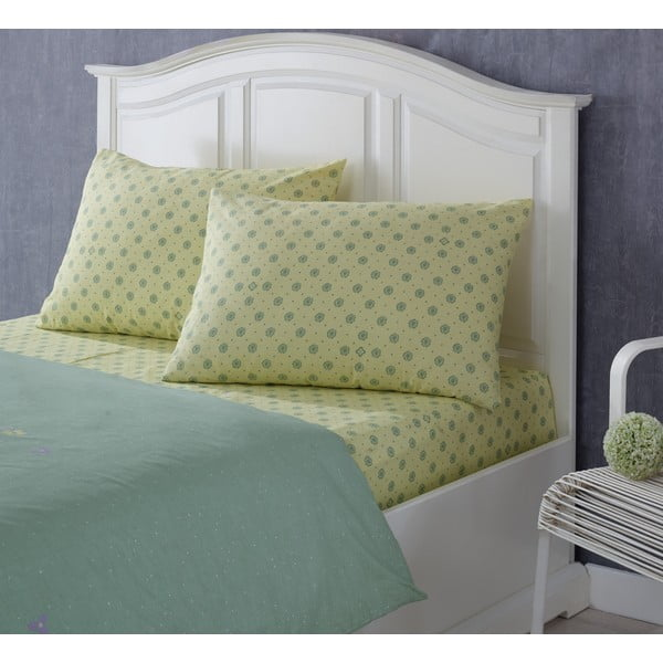 Set prostěradla a povlaku a polštář Rainforce Yellow/Green, 100x200 cm