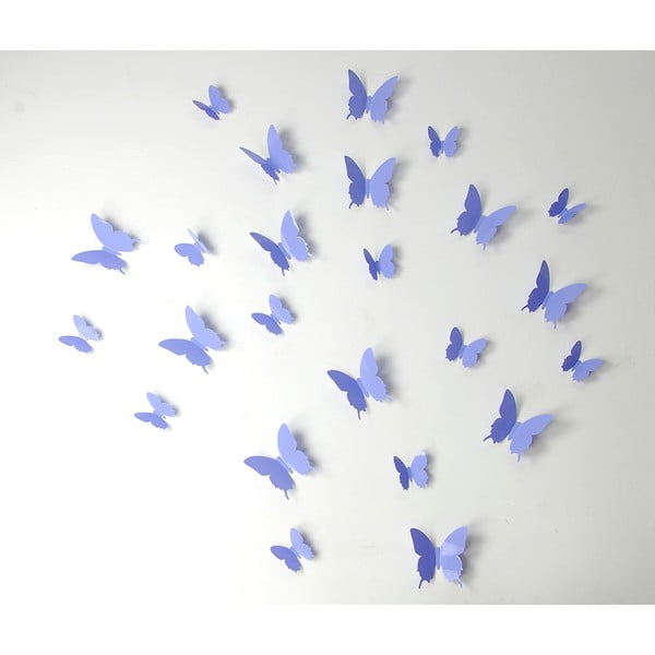 Sada 12 fialových 3D samolepek Ambiance Butterflies