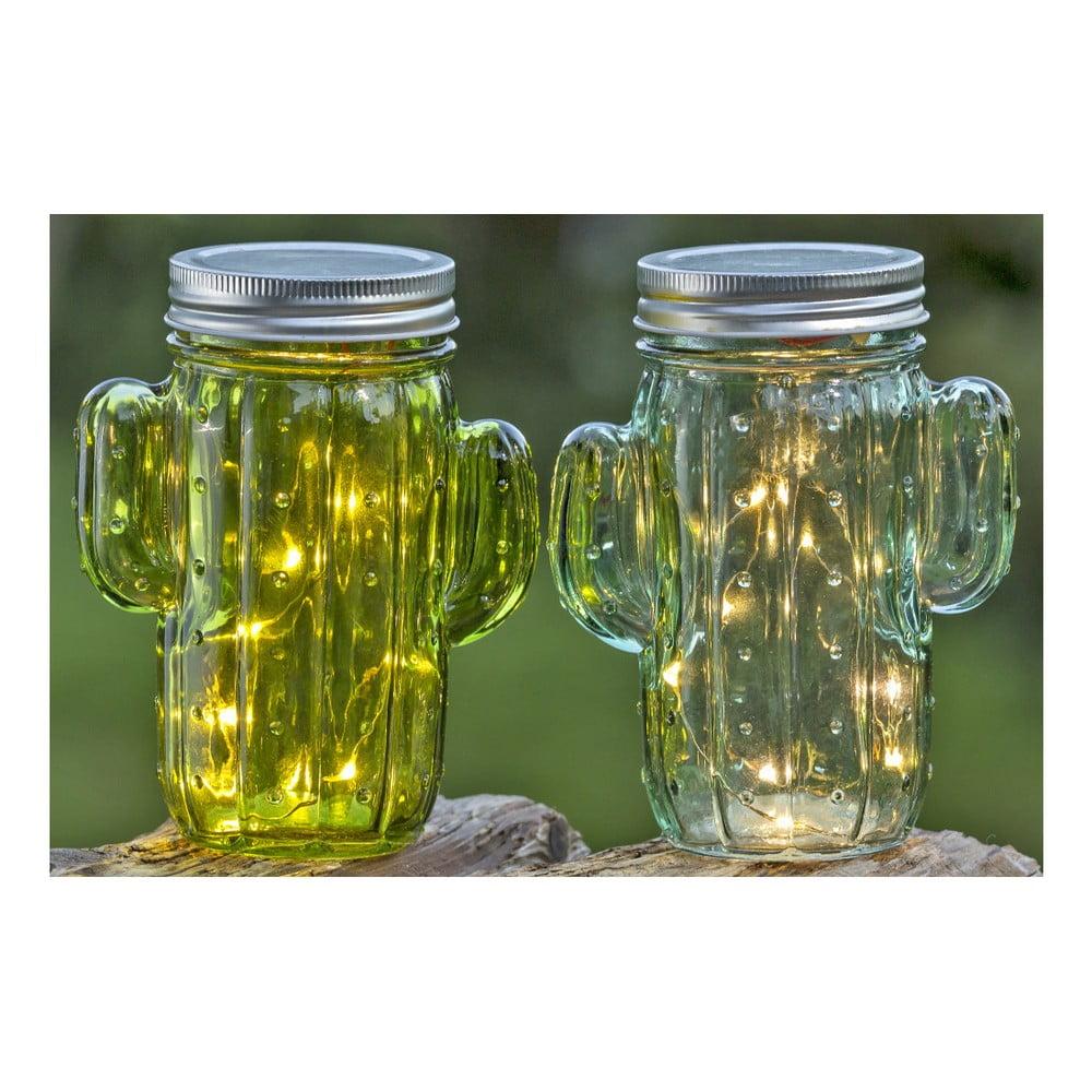 Sada 2 skleněných nádob s víčkem ve tvaru kaktusu Boltze