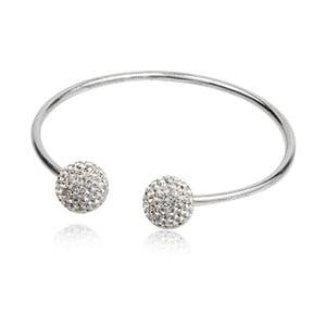 Stříbrný náramek s bílými krystaly Swarovski Elements Crystals Bangle