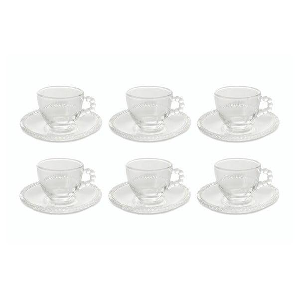 6 db üveg kávéscsésze, csészealjakkal - Villa d'Este