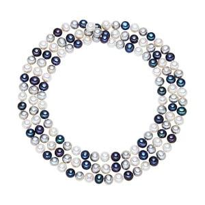 Bílo-modrý perlový náhrdelník Chakra Pearls, 120cm