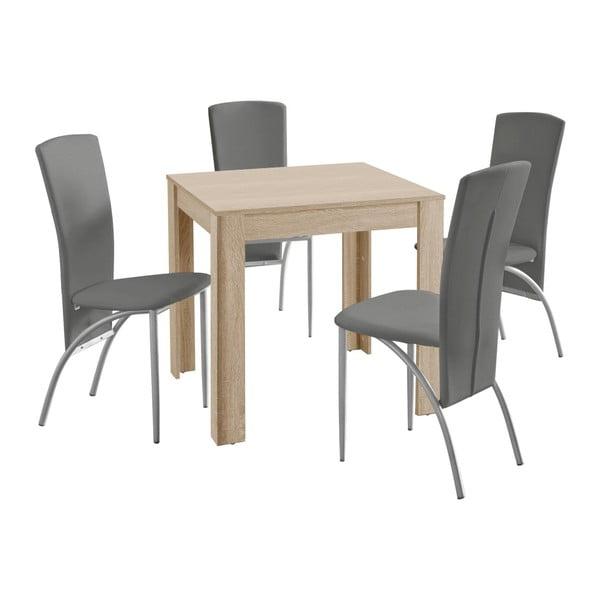 Set jídelního stolu a 4 béžových jídelních židlí Støraa Lori Nevada Duro Oak Light Grey