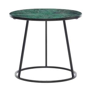 Černý odkládací stolek se zelenou mramorovou deskou Hübsch Dana