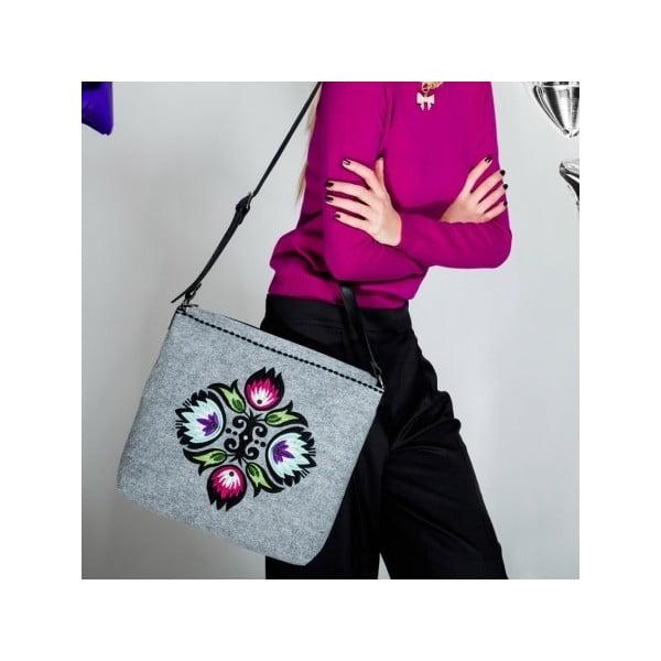 Plstěná vyšívaná taška Roos s nastavitelným popruhem
