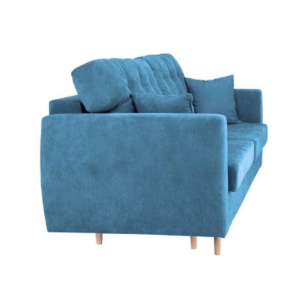 Modrá trojmístná rozkládací pohovka s úložným prostorem Cosmopolitan design Amsterdam, 231x98x95cm