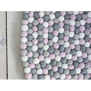 Covor cu bile din lână Wooldot Ball Rugs, ⌀ 90 cm, gri roz deschis