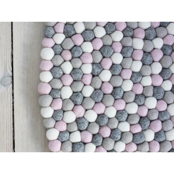 Covor cu bile din lână Wooldot Ball Rugs, ⌀ 140 cm, gri roz deschis