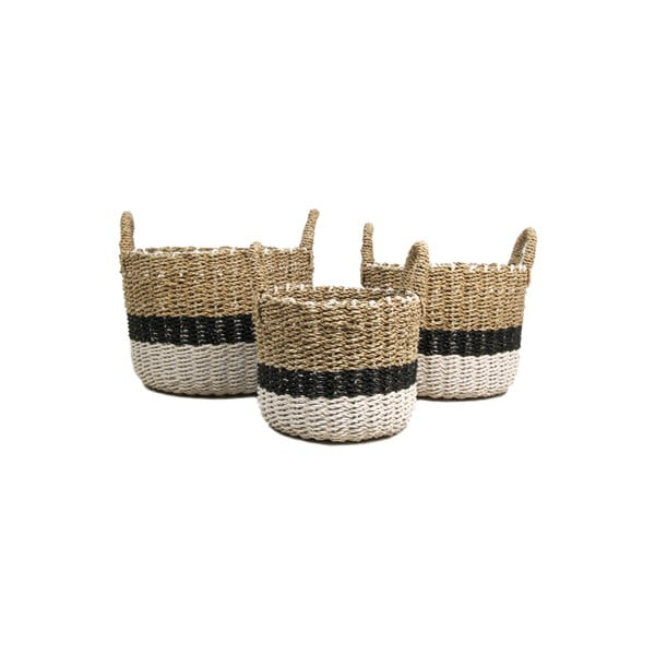 Set 3 coșuri depozitare HSM collection Raffia Natural White Duro