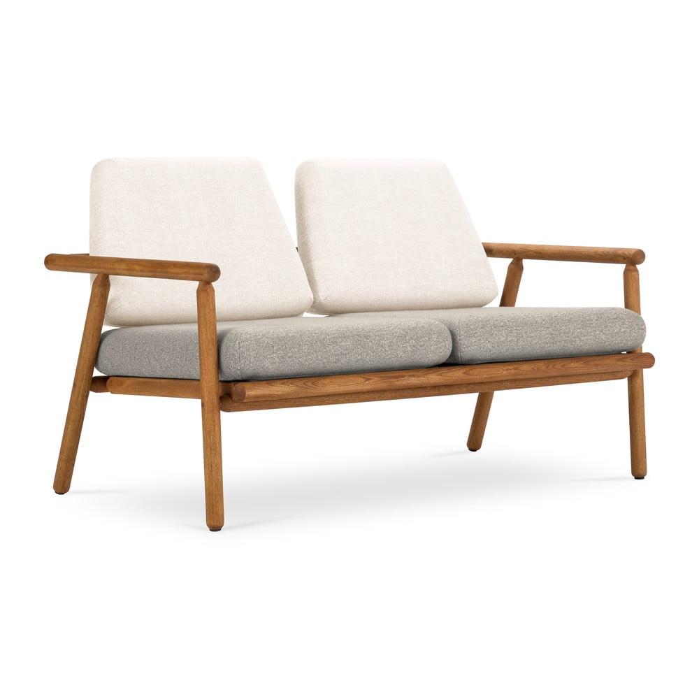 Venkovní dvoumístná pohovka v bílo-šedé barvě s konstrukcí z masivního akáciového dřeva Calme Jardin Capri Premium