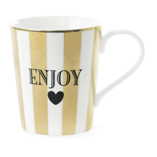 Keramický hrnek Miss Étoile Coffee Enojy Stripe Gold, 300ml