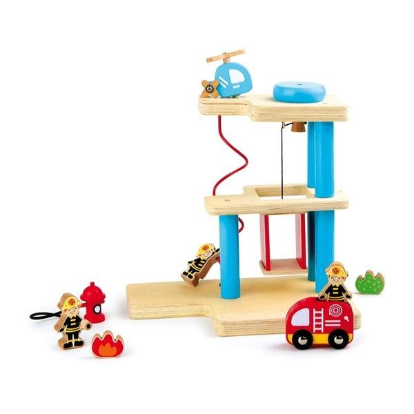 Dřevěný hrací požární stanice s figurkami Legler Fire Brigade