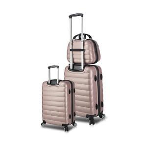 Sada 2 růžových cestovních kufrů na kolečkách s USB porty a příručního kufříku My Valice RESSO Cab Med & MU