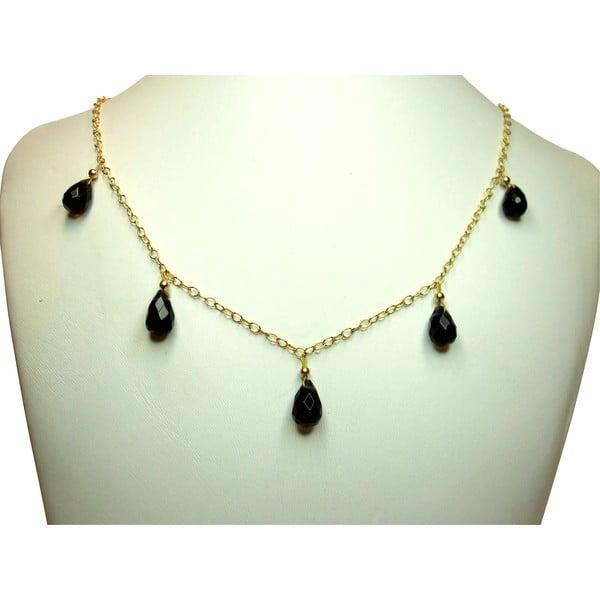 Zlatý náhrdelník Smoky Quartz Teardrop (záhněda)