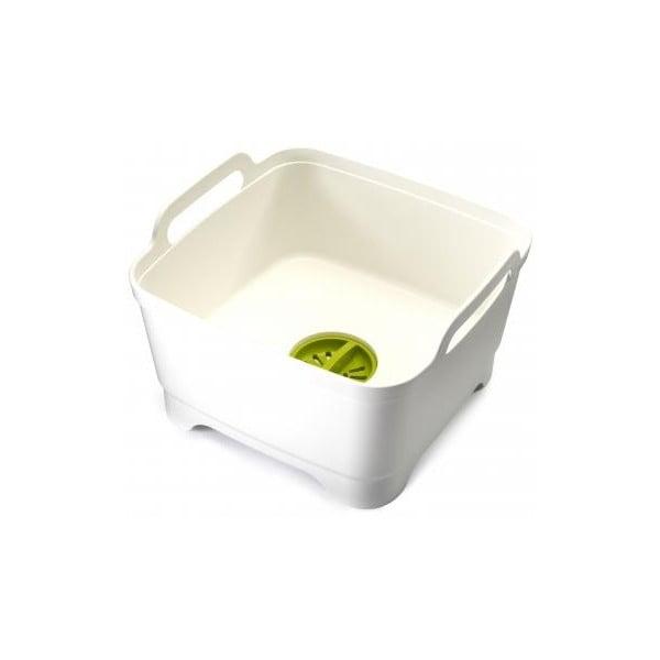 Mycí nádoba s odtokovým uzávěrem Joseph Joseph Wash&Drain, bílá