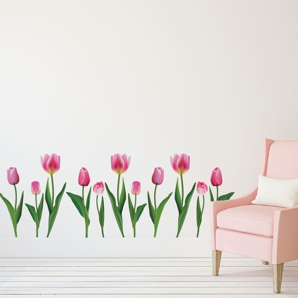 Sada samolepiek na stenu Ambiance Pink Tulips
