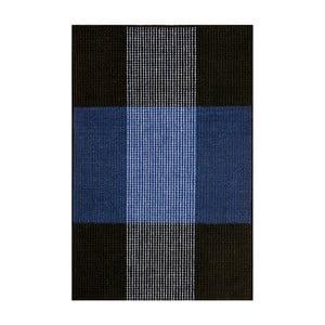 Modro-černý ručně tkaný vlněný koberec Linie Design Bologna, 90x160cm