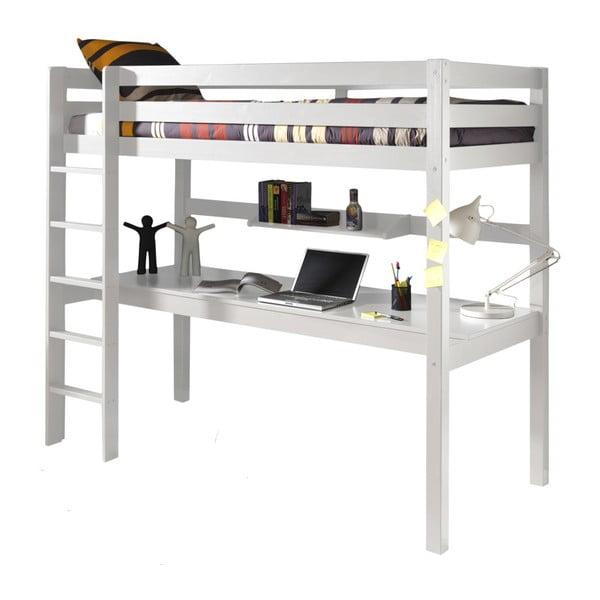 Białe łóżko piętrowe z biurkiem Vipack Pino, 200x105 cm