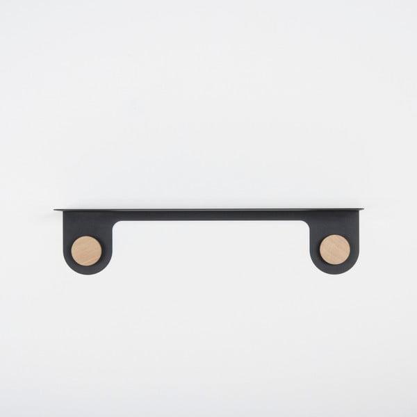 Hook fekete fali polc 2 akasztóval, hossz 60 cm - Gazzda