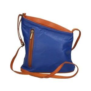Modro-hnědá kožená kabelka Chicca Borse Garturo