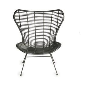 Černá židle s výpletem z proutí Simla Wicker