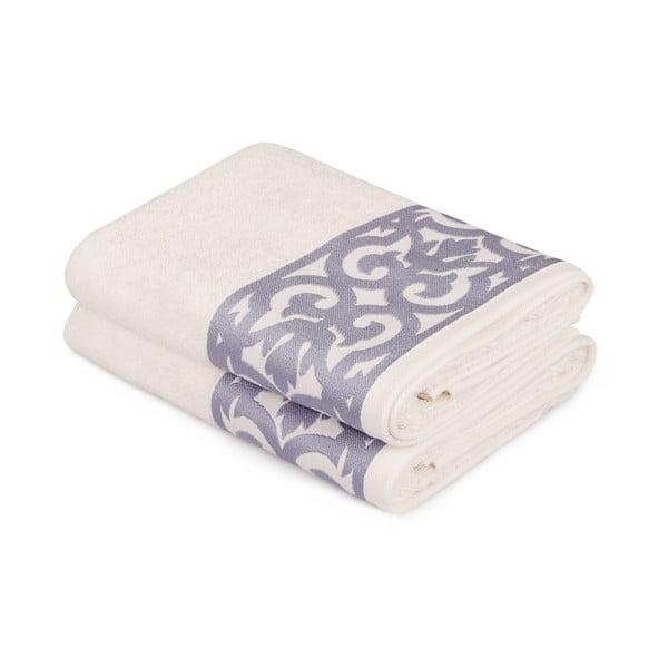 Zestaw 2 białych ręczników do rąk z fioletowym obszyciem Grace