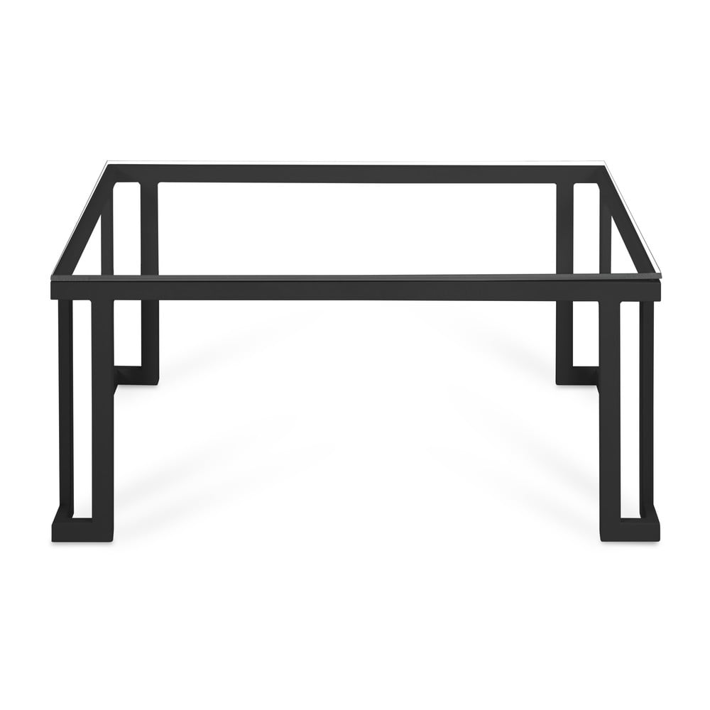 Skleněný venkovní stůl v černém rámu Calme Jardin Cannes, 60 x 90 cm