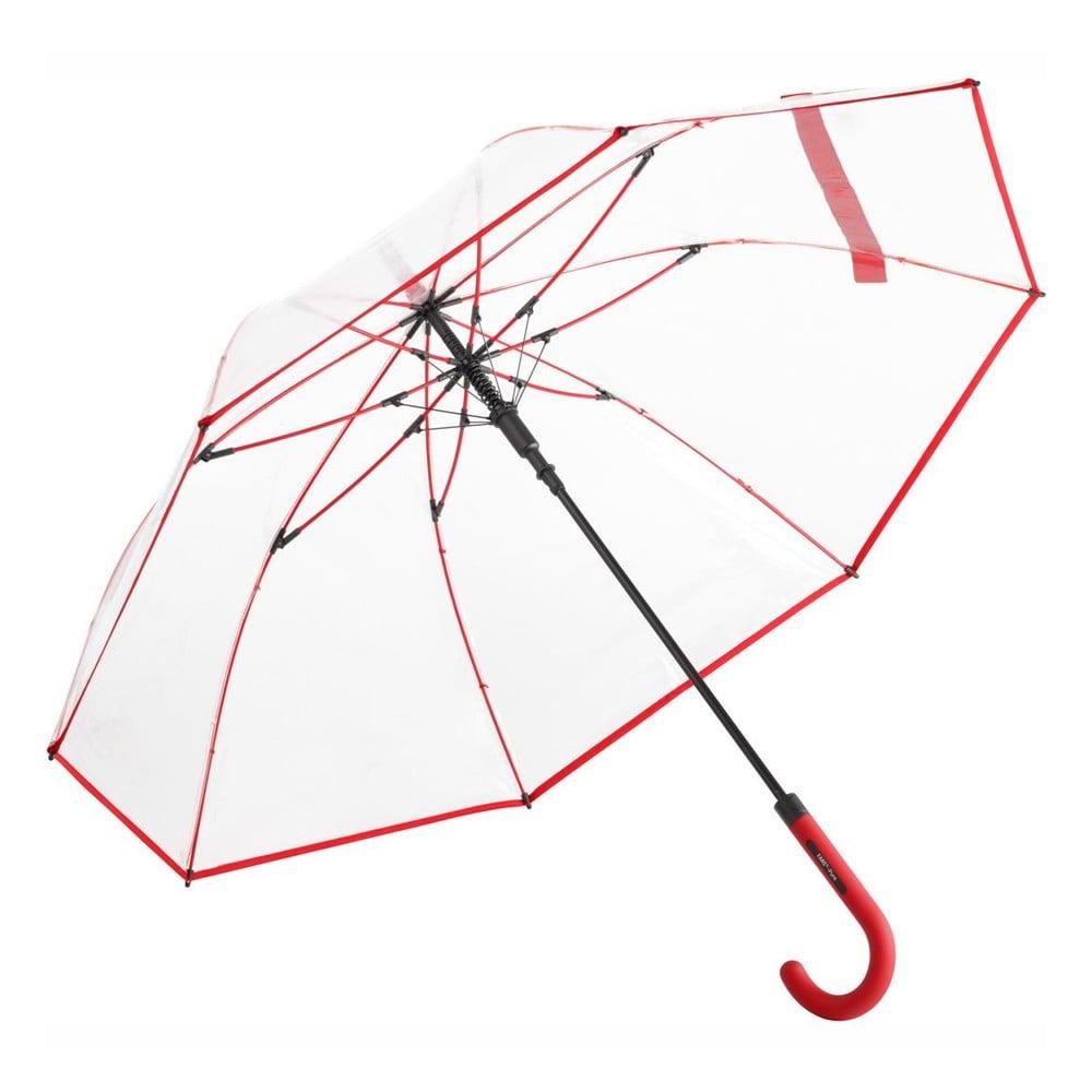 Dámský transparentní holový deštník Ambiance Red Border, ⌀105cm