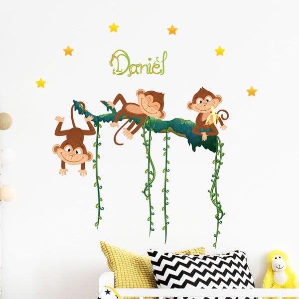 Sada nástěnných samolepek s opicemi a písmeny Ambiance Monkey
