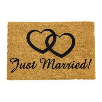 Covoraș intrare din fibre de cocos Artsy Doormats Just Married, 40 x 60 cm imagine