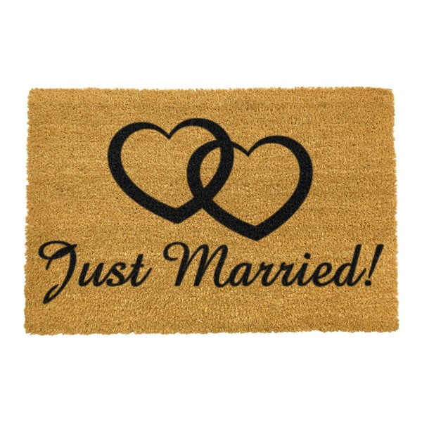 Covoraș intrare din fibre de cocos Artsy Doormats Just Married, 40 x 60 cm