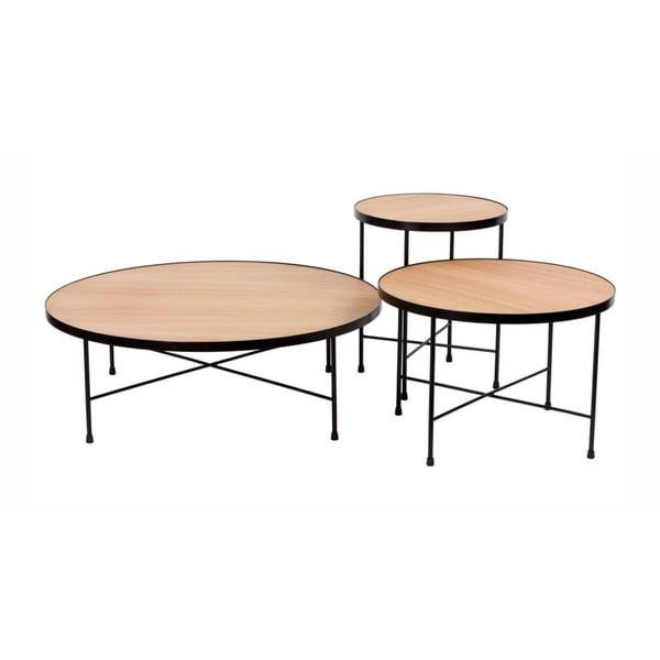 Sada 3 konferenčných stolíkov s doskou z dubového dreva Nørdifra Oak