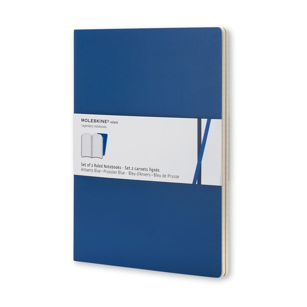 Sada 2 notesů Moleskine Blue Volant, 14x9 cm