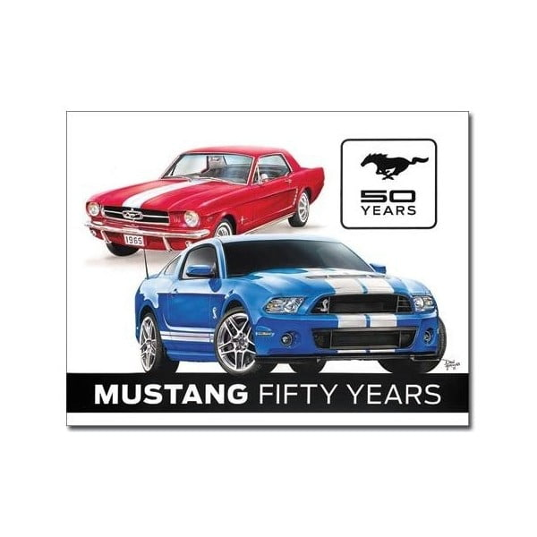 Plechová cedule Mustang 50 Years, 30x40 cm