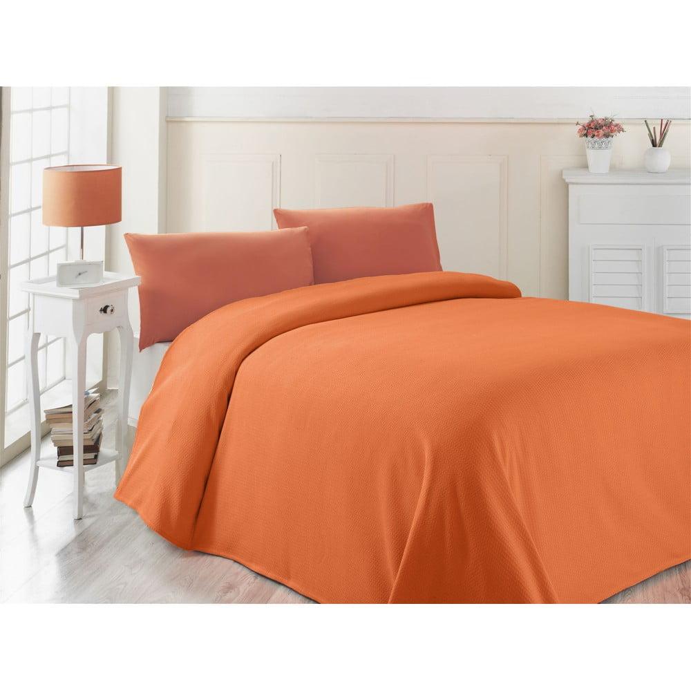 Oranžový lehký přehoz přes postel Oranj, 200 x 230 cm