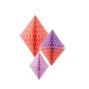 Papírové dekorace Honeycomb Diamond Peach&Lilac, 3 kusy