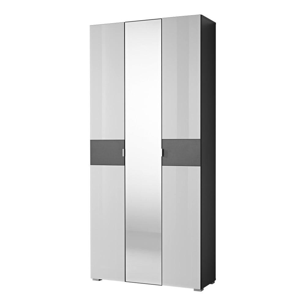 Bílá šatní skříň s antracitově šedými detaily Germania Alameda