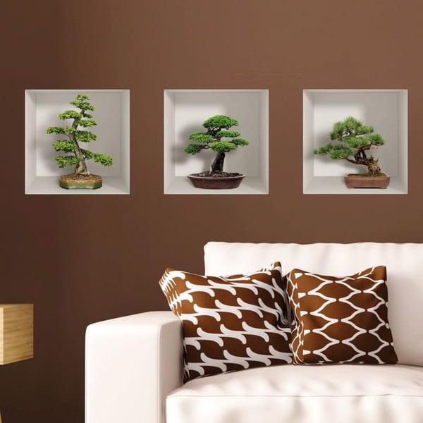Set 3 autocolante 3D pentru perete Ambiance Bonzais
