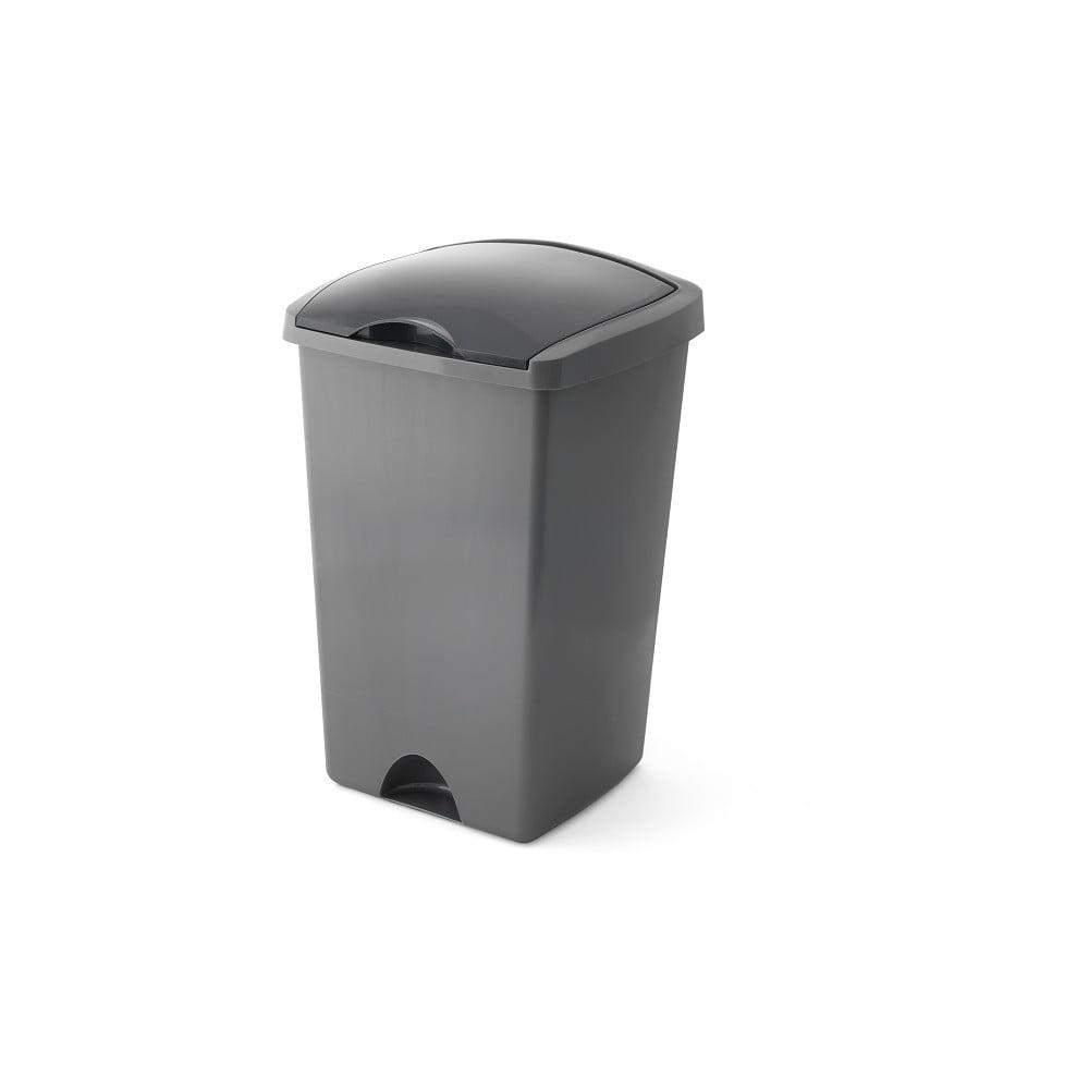 Šedý odpadkový koš s vyklápěcím víkem Addis, 38 x 34 x 59 cm