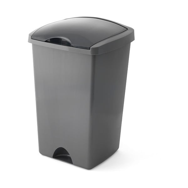 Sivý odpadkový kôš s vyklápacím vrchnákom Addis, 38 x 34 x 59 cm