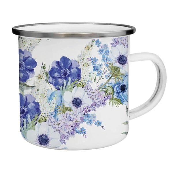Smaltovaný hrnek s modrými květy TinMan, 200 ml