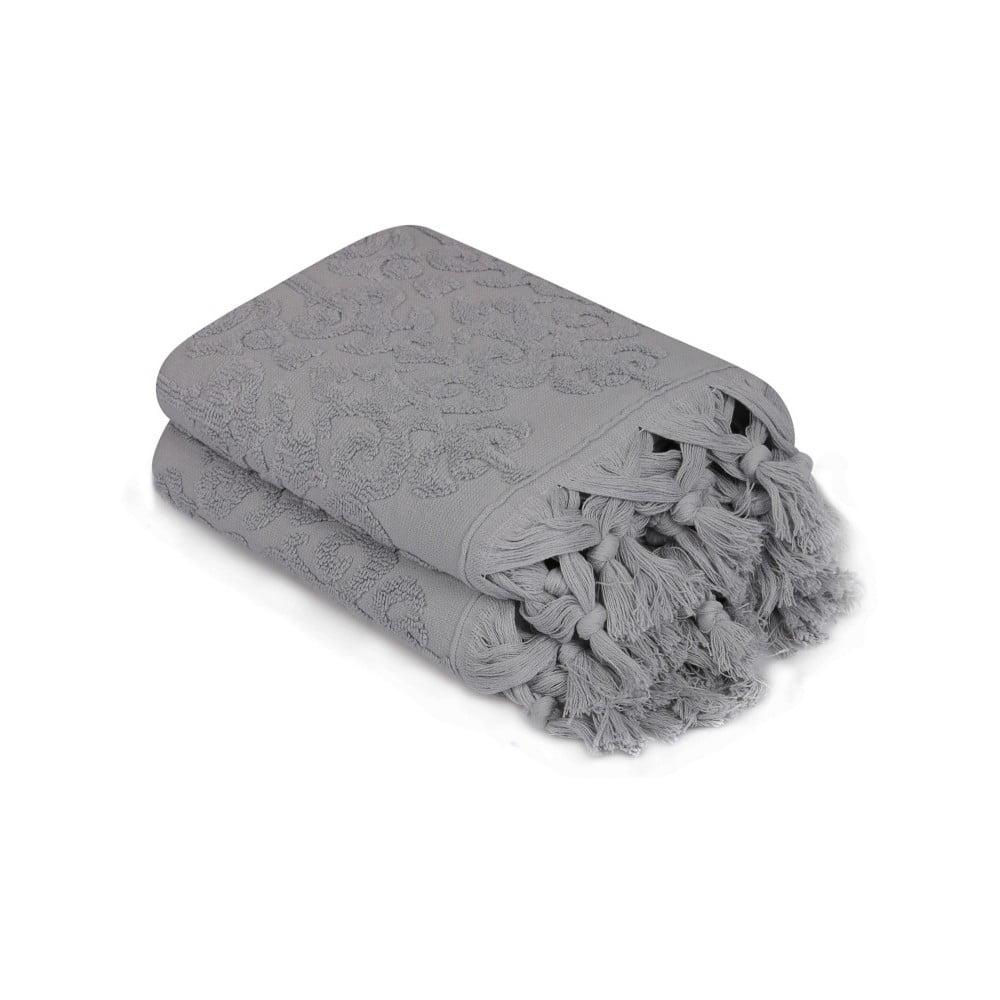 Sada 2 šedých ručníků Madame Coco Bohème, 50 x 90 cm Saheser