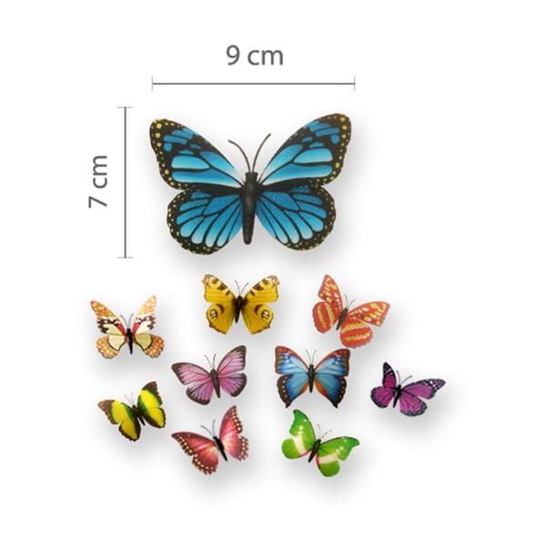 Trojrozměrné samolepky motýlků, barevní